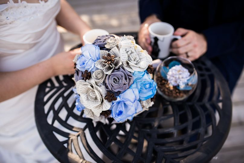 A book and coffee wedding.