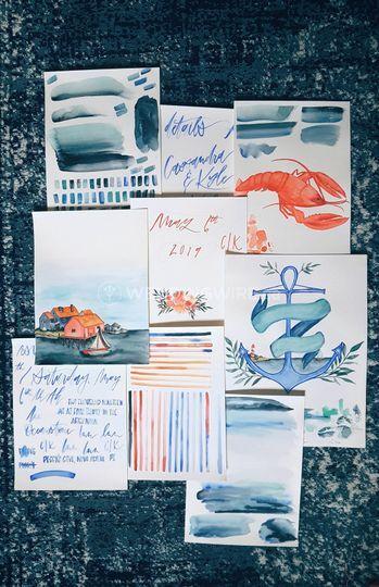 Coastal watercolor elements