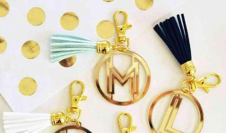 Gold Monogram Acrylic Keychains