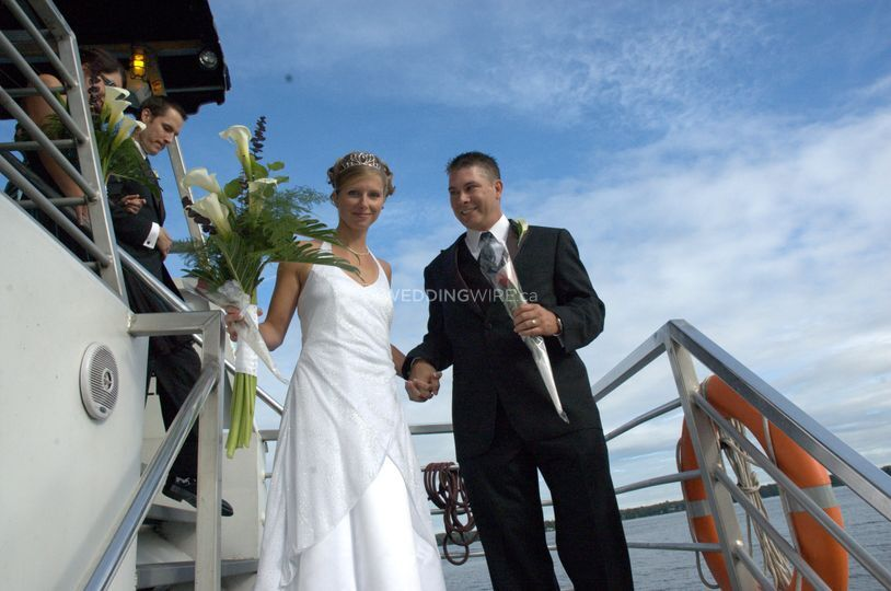 Bride and Groom aboard Sea Fox