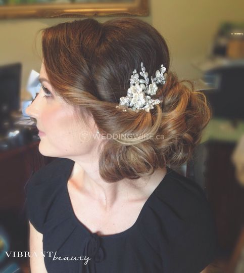 Soft makeup and beautiful updo