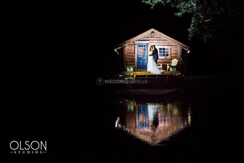 Cabin lit up