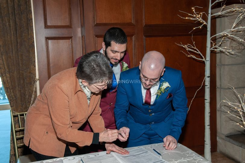 Signing the documents