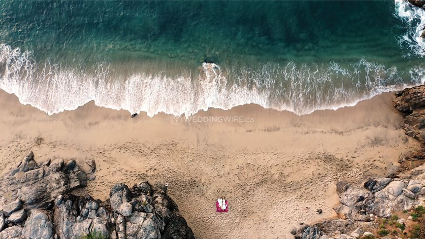 Drone Shot of Sayulita Wedding