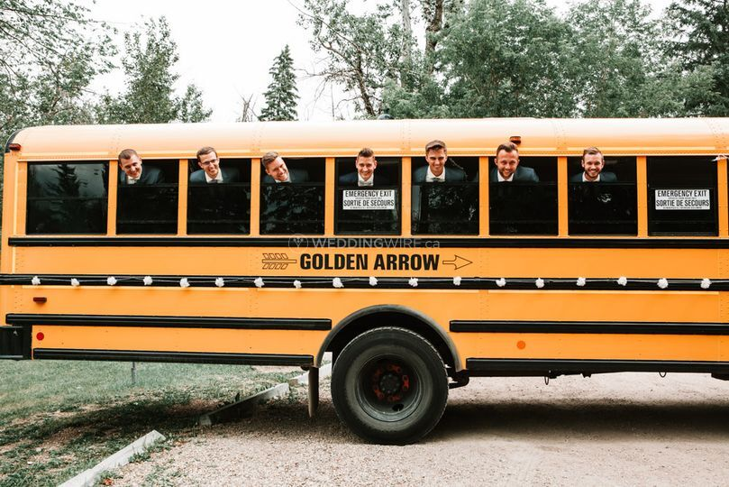 Groomsmen on the school bus
