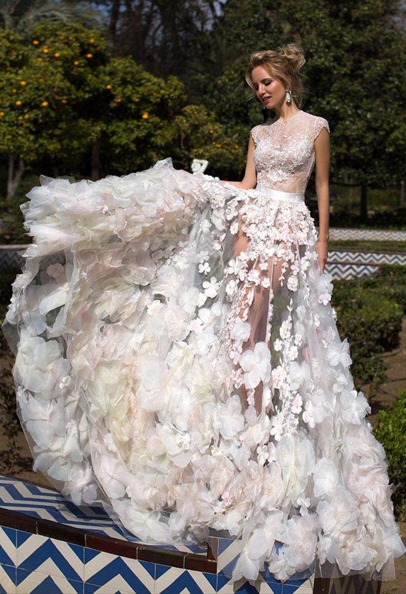 40 sheer wedding dresses for every style of bride bellarose by oksana mukha junglespirit Gallery