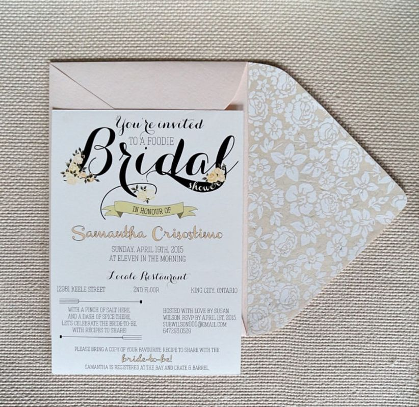 Foodie-themed bridal shower invitation