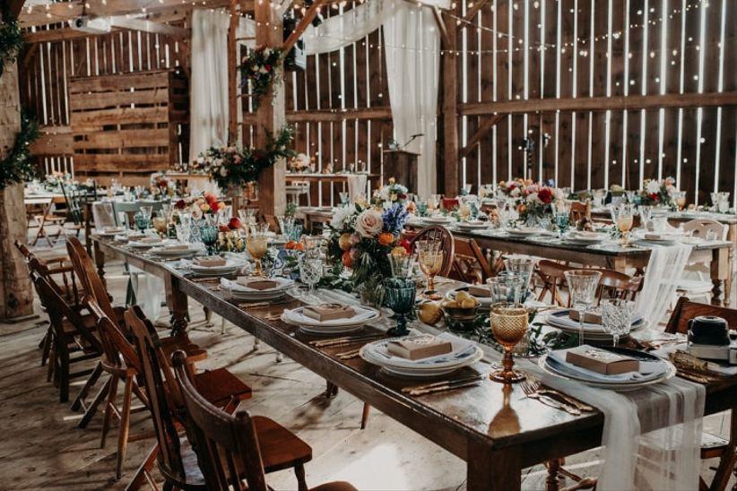 ustic wedding decor idea - mix and match furnishings