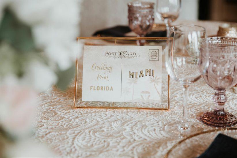 Vintage postcard wedding table name