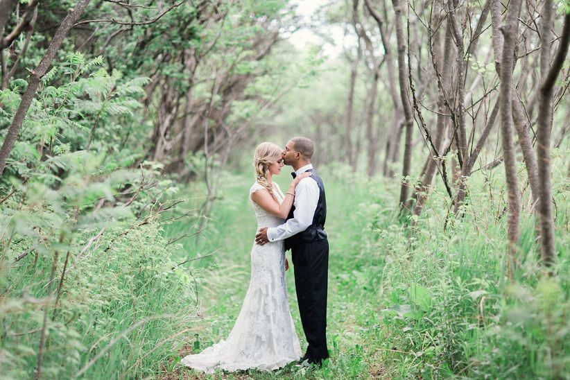 Wedding portrait in a forest