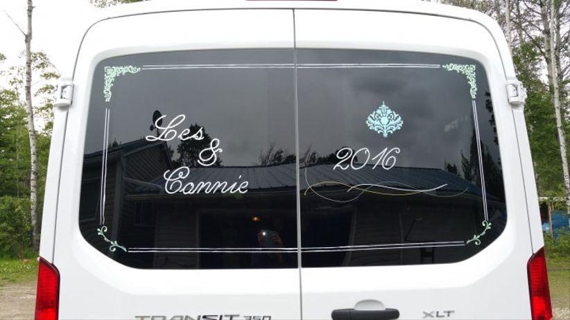 Custom decals on wedding vehicles