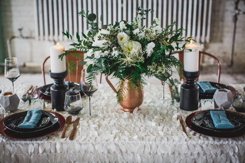 ustic wedding decor idea - copper accents