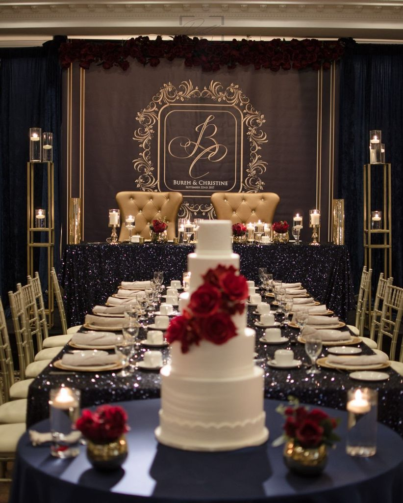 Sweetheart table backdrop featuring a monogram