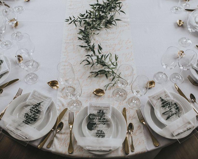 Transparent wedding menu cards