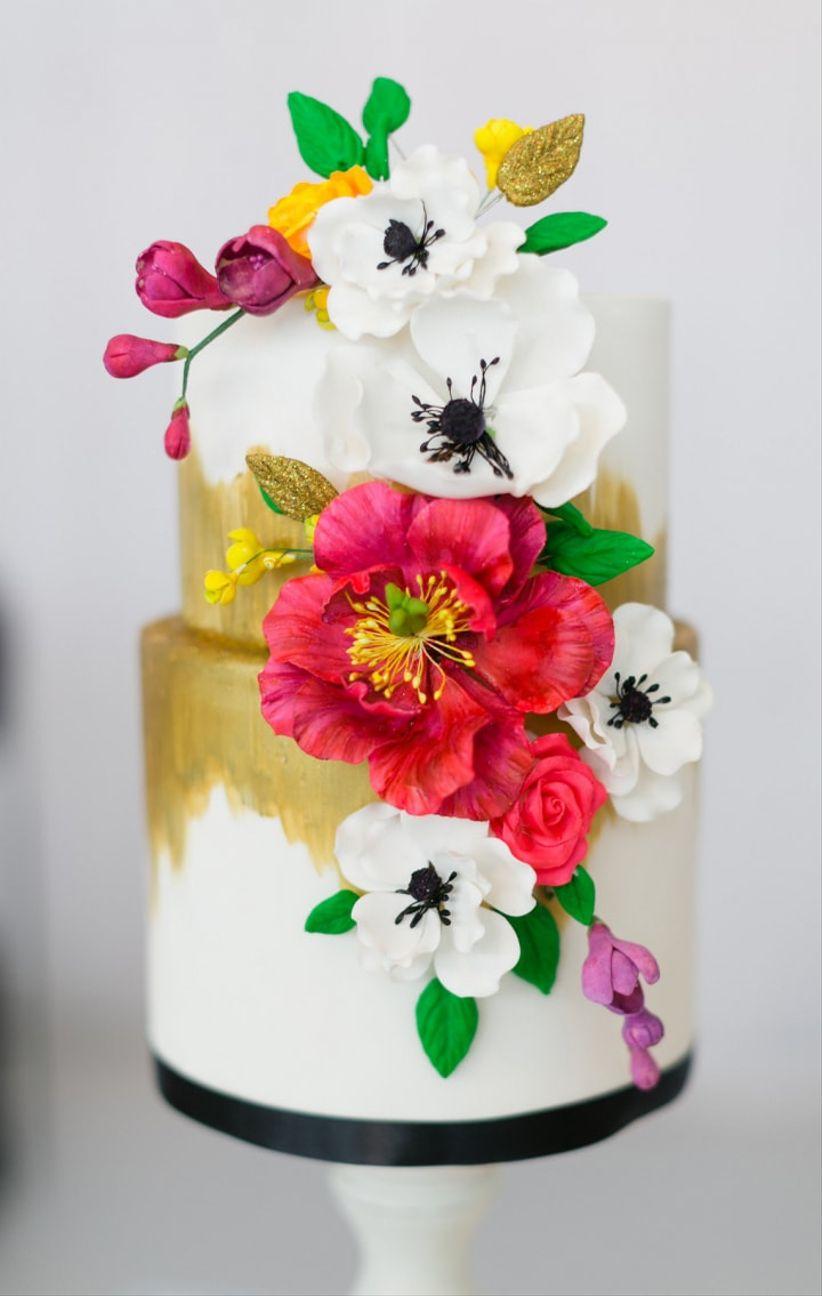 Artificial flower decoration on wedding cake