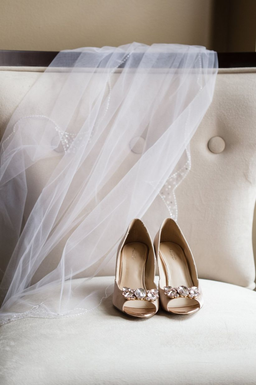 Wedding shoes and bridal veil