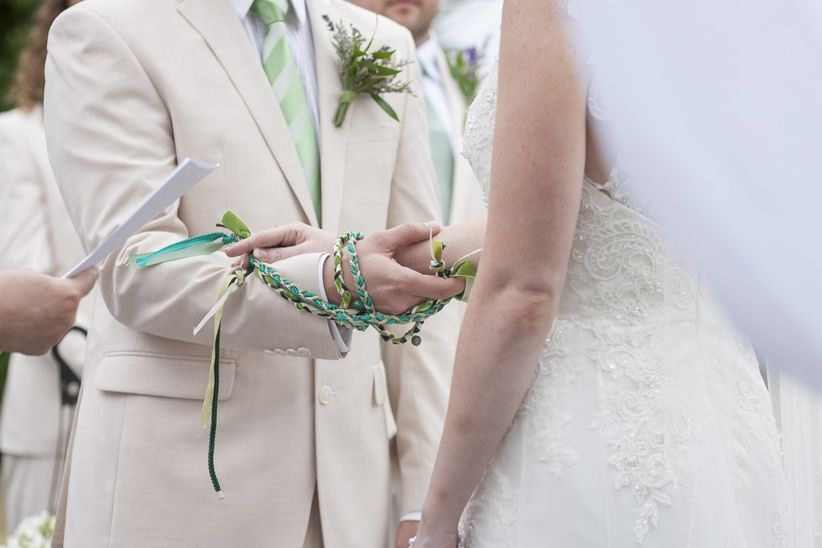 Handfasting ceremony with braided ribbons