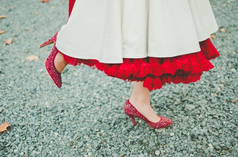 Bride wearing crimson underskirt