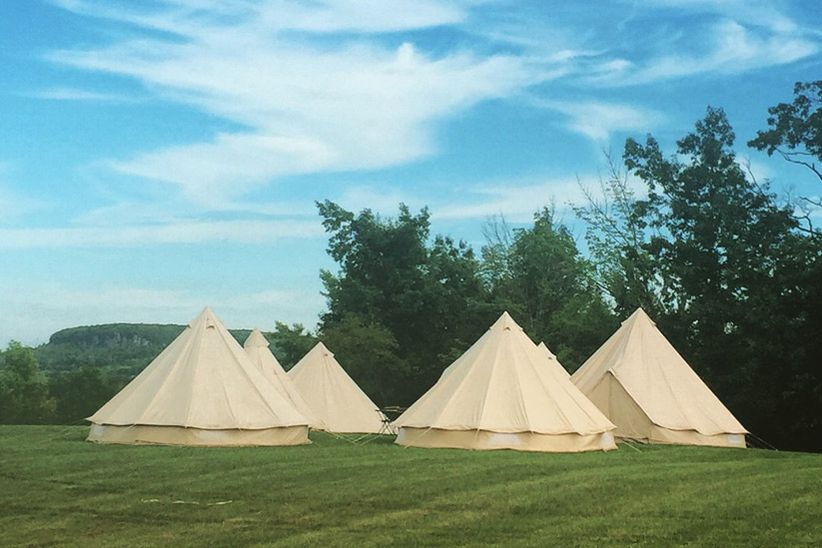 Wedding guest camping