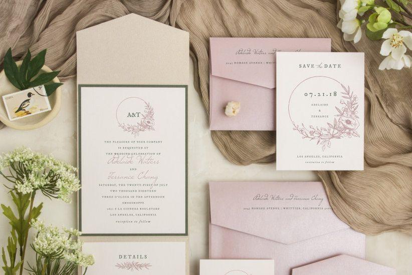 Wedding invitation design with floral wreath