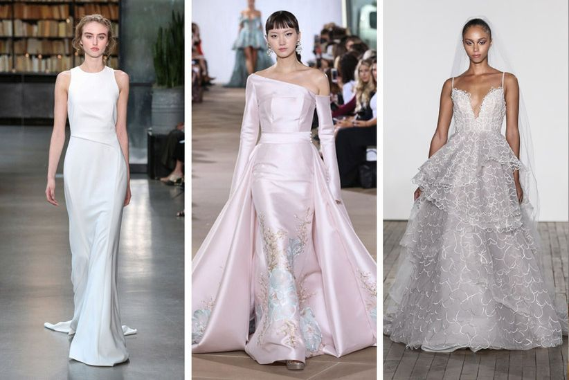 be707b7acb52 This 2019 wedding dress trend can be worked into sleeves, necklines, skirts  or all of the above for a super dramatic look. Shown here, from left to  right: ...