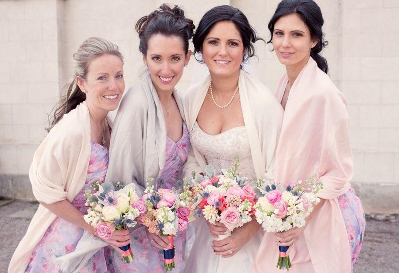 Bridal party wearing shawls