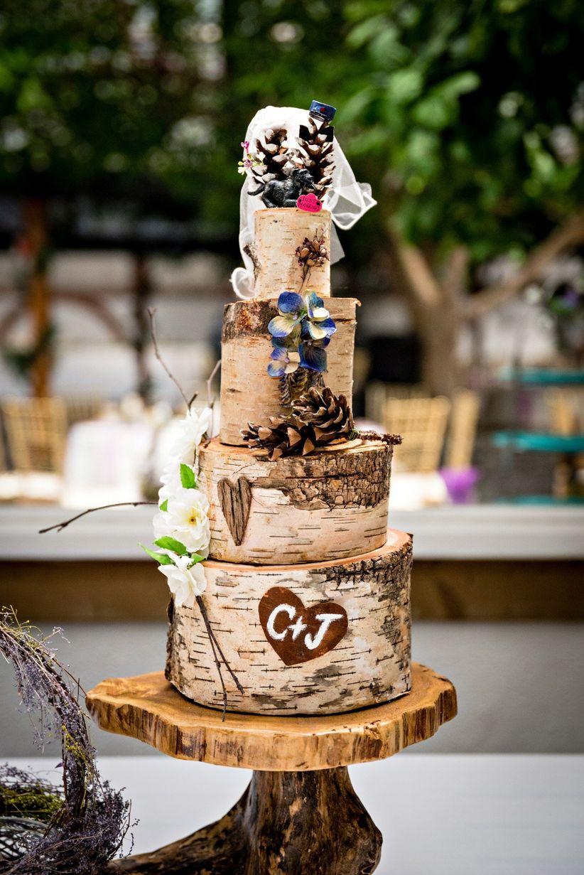 Faux bois rustic wedding cake