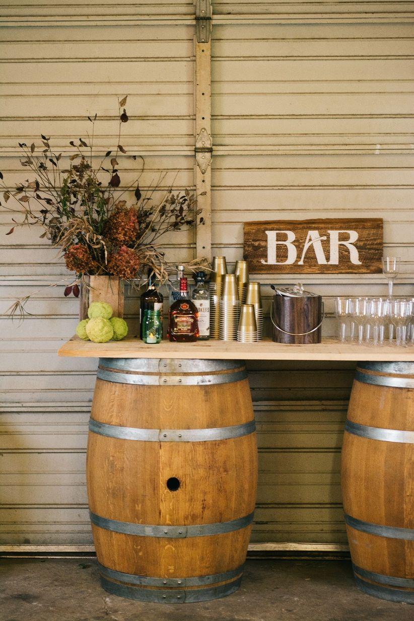 Fall wedding ideas- barrel bar