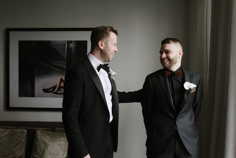 Same-sex wedding first look for grooms