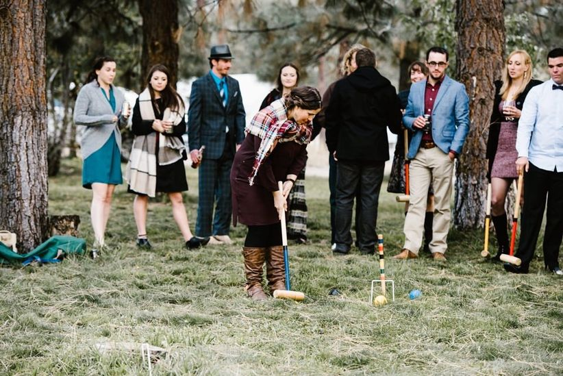 Croquet game at a wedding reception