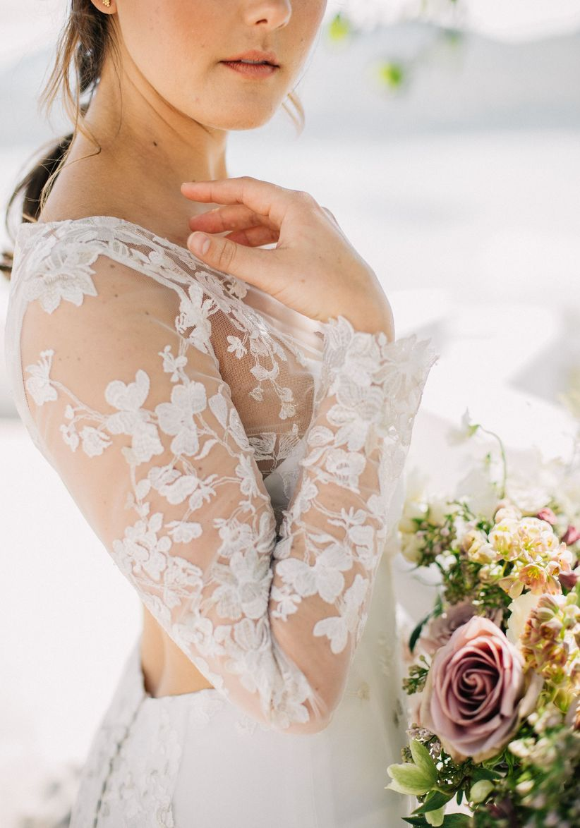 Lascy wedding dress with floral design