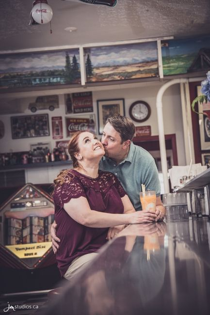 Engagement shoot - Evelyn's Memory Lane Café, High River, AB