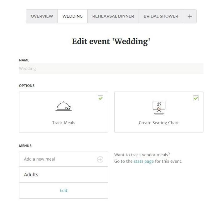 new rsvp for multiple events plus meal tracking tech support