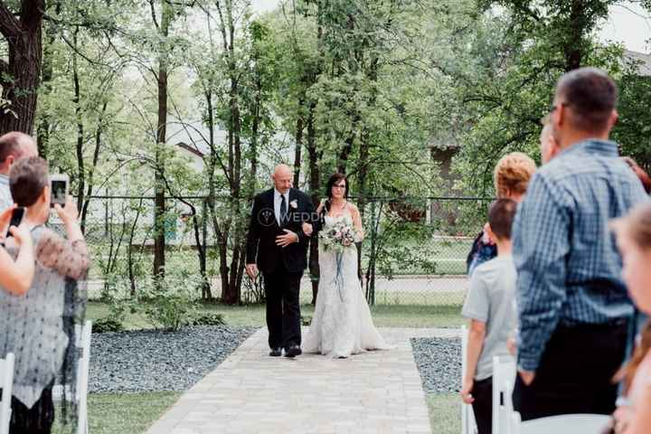Outdoor Ceremony Procession - Dad Walking Bride Down The Aisle