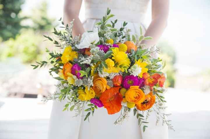 Spring Bouquet with Yellow, Pink, and Orange Flowers