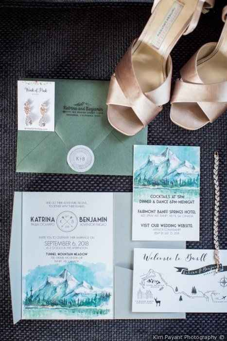 Custom Illustrations Mountains Rustic Wedding Invitations with Map