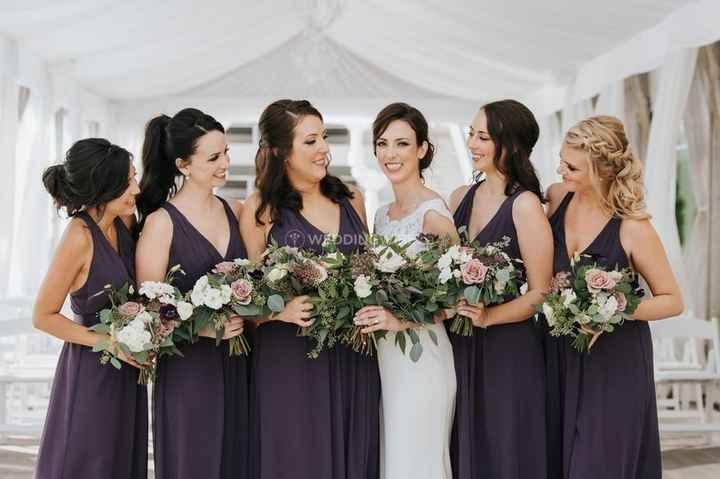 Matching Dark Purple V-Neck Bridesmaids Dresses