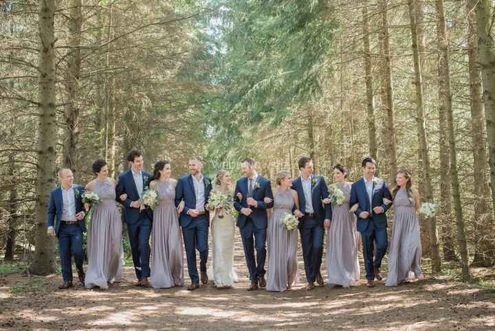 Wedding Party Linked Arms in Woods - Long Grey Matching Bridesmaids Dresses