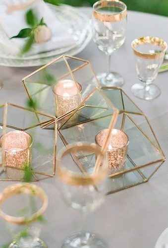 Geometric Gold Terrariums and Candles Centerpieces