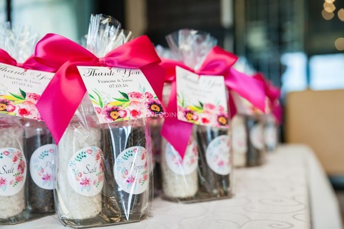 What are you giving as a wedding favour? 1