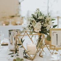 Small Simple White Floral Centerpiece - Gold Geometric Decor