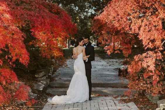fall wedding bride groom foliage leaves