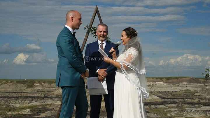 couple saying vows outdoor wedding ceremony