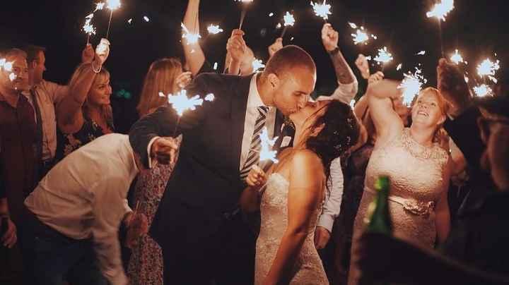 wedding sparkler exit couple kiss