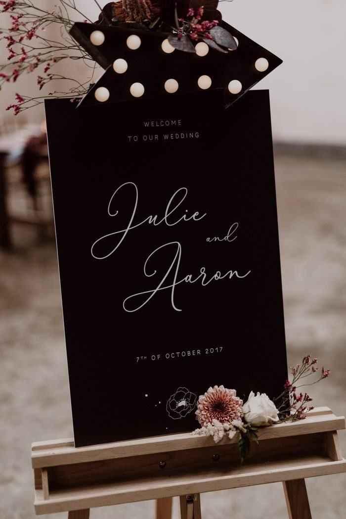 black wedding signage