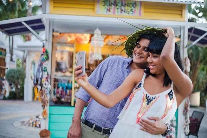couple on their honeymoon taking a selfie