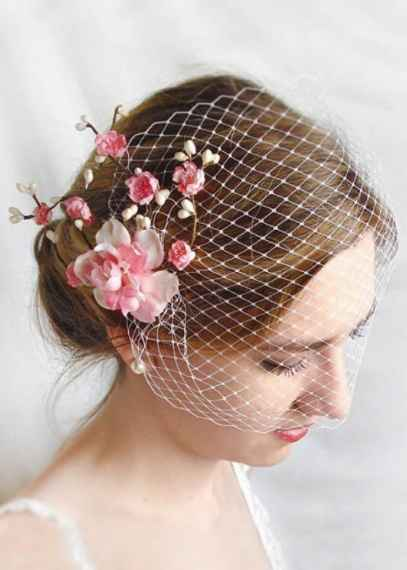 Birdcage Veil with Pink Flowers