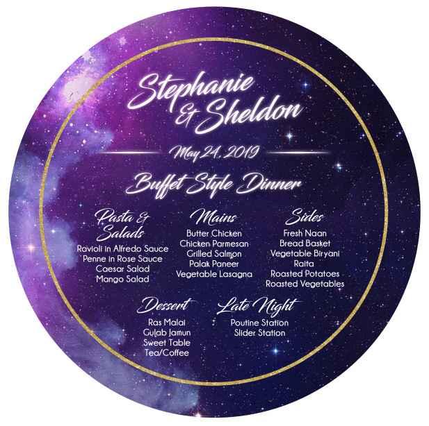 Circle menu for gold charger plates!