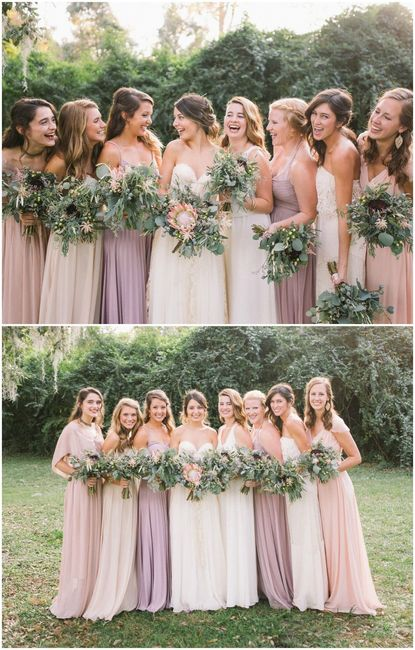 What colour bridesmaids dresses with pink wedding gown - Wedding ...