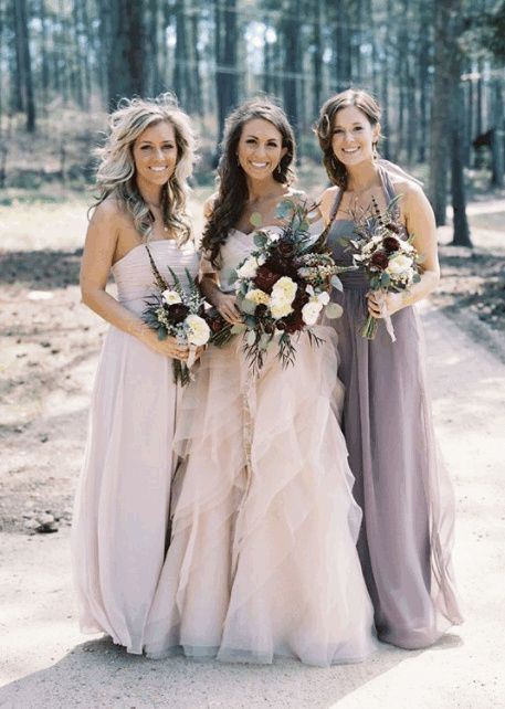 What colour bridesmaids dresses with pink